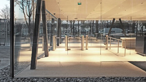Fastlane R400MA entrance control security turnstiles in situ at UNESCO Headquarters