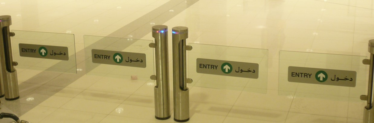 Fastlane Intelligate entrance control security turnstiles in situ at Abu Dhabi Airport