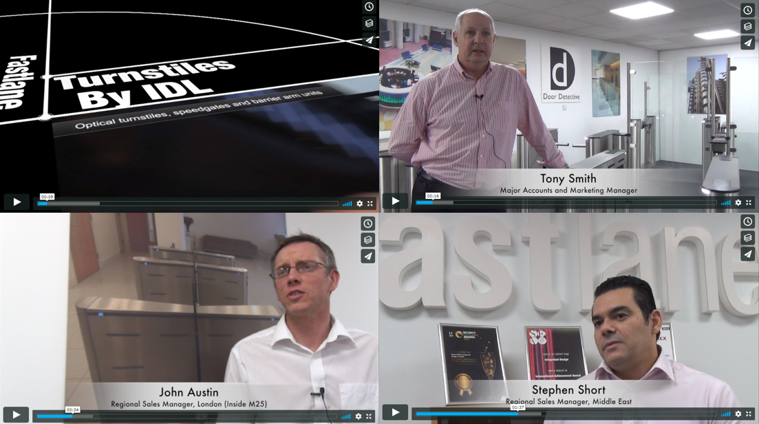 Stills from Fastlane Turnstiles video with logo and Tony Smith, John Austin and Stephen Short talking