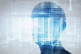 Man's head with abstract imagery for facial recognition