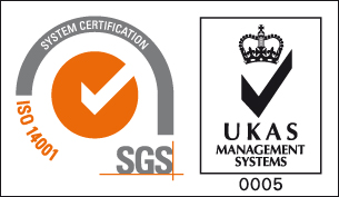 ISO 14001 logo and UKAS Management Systems 0005 logo