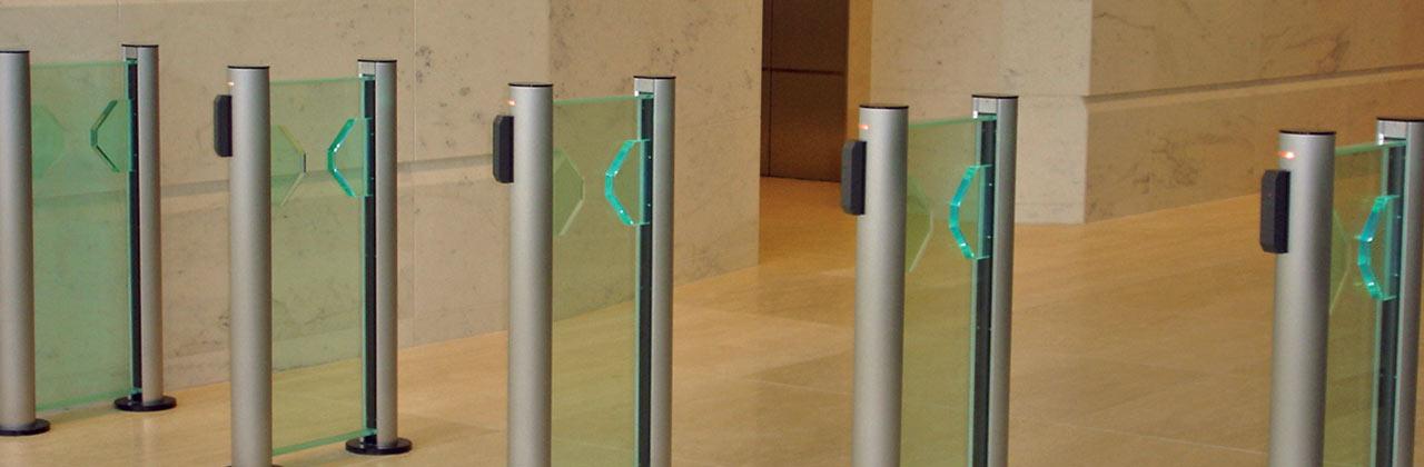 Flastlane Clearstyle 200 entrance control security optical turnstiles in situ