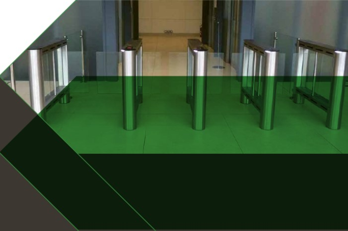 Fastlane Glassgate 150 entrance control security speedgate in building lobby with green arrow across image