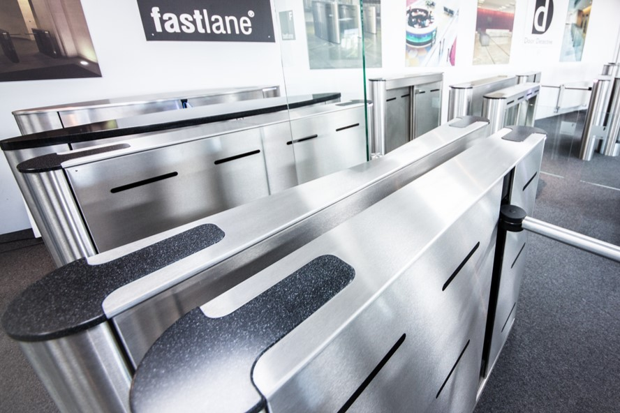Fastlane Plus 400MA barrier arm entrance control security turnstiles in demo suite
