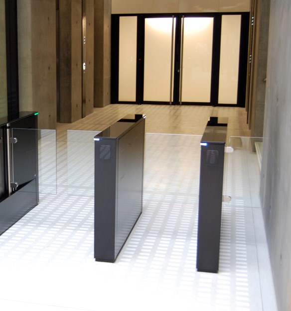 Fastlane Glassgate 200 entrance control security speedgate turnstile in situ at Angel Building