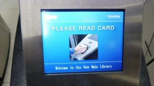 Screen showing instructions for Fastlane turnstile card reader at University of Birmingham
