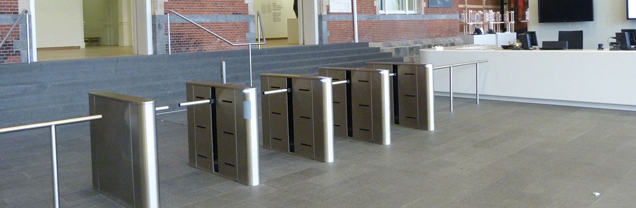 Fastlane Plus Barrier Arm entrance control security turnstiles in situ