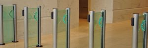Flastlane Clearstyle 200 entrance control security optical turnstiles in situ