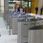 Fastlane entrance control security Glasswing speedgates turnstiles in situ at Uni of Birmingham library