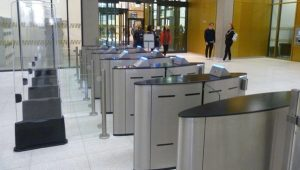 Fastlane entrance control security Glasswing speedgates turnstiles in situ at Uni of Birmingham library