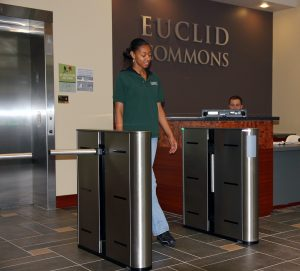 Fastlane Plus 400MA entrance control security turnstiles in situ at Cleveland State university student accomodation