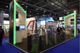 Fastlane IFSEC 2017 stand with turnstiles and personnel