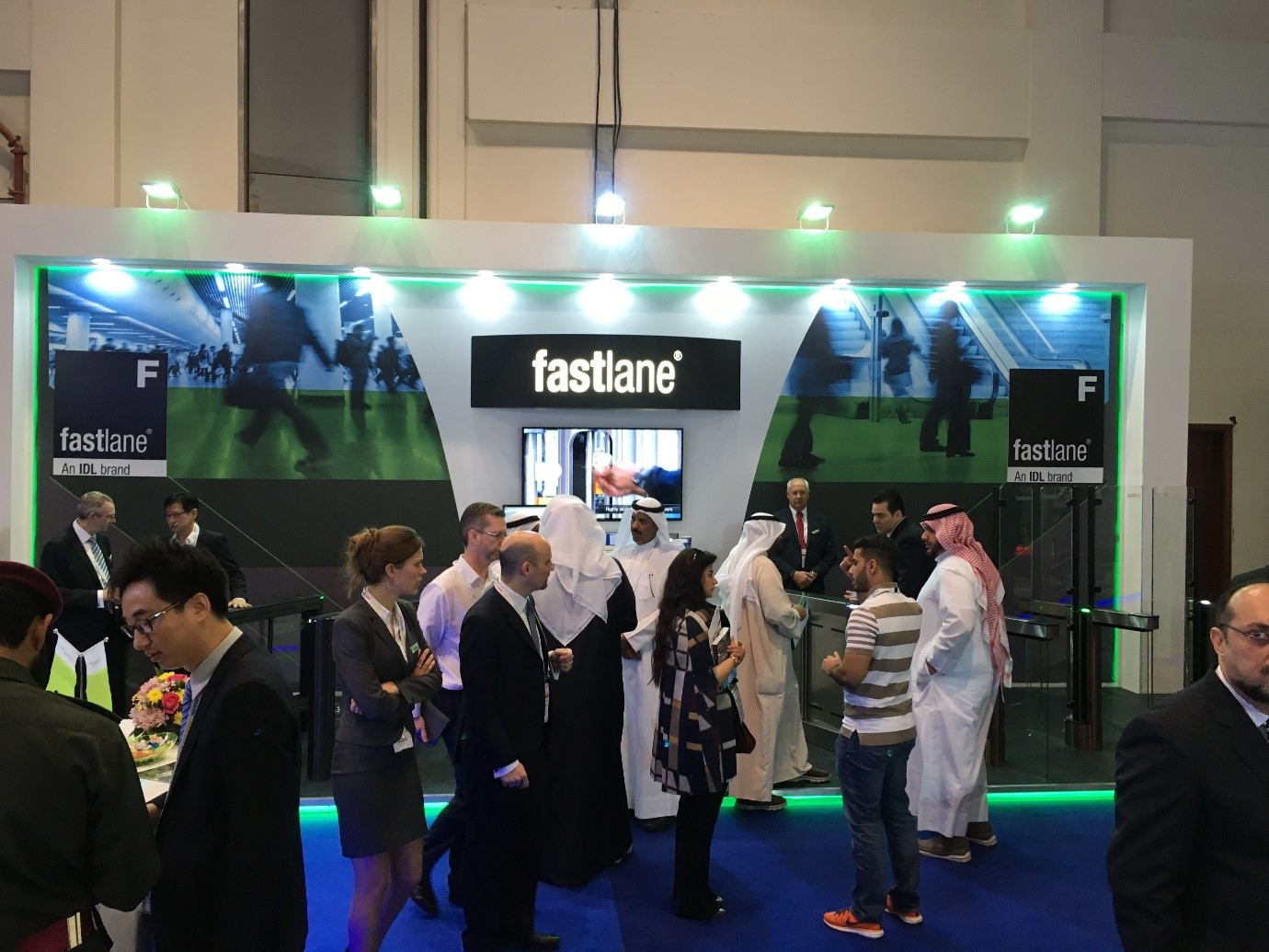 Fastlane Turnstiles stand at Intersec 2017 with personnel and clients mingling infront