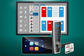 Illustration of access control system with screen device keypad and pass