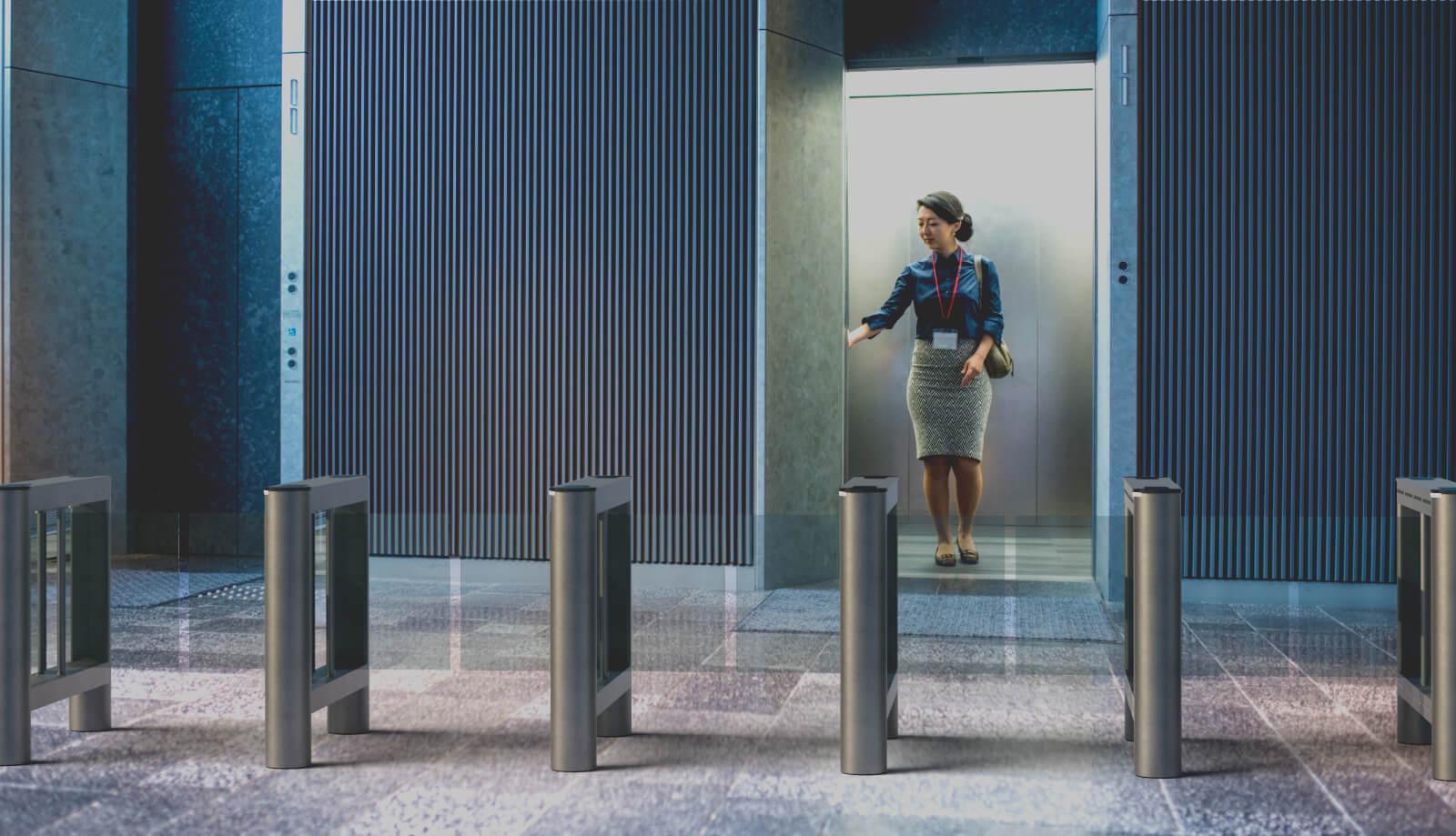 elevator with turnstiles