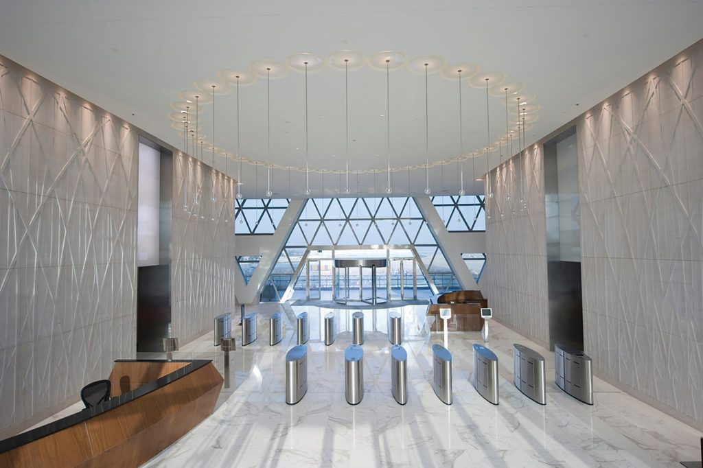 Fastlane glasswing entrance control security turnstiles in situ at Aldar HQ Abu Dhabi