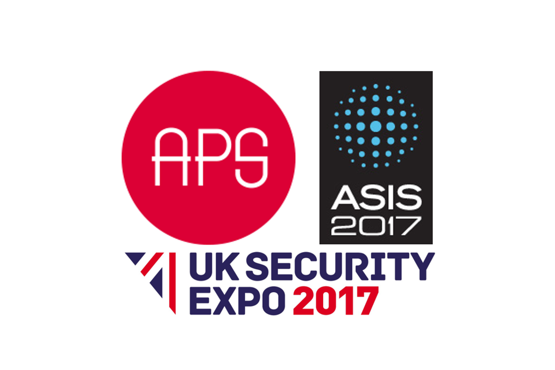 APS logo, ASIS 2017 logo and UK Security Expo 2017