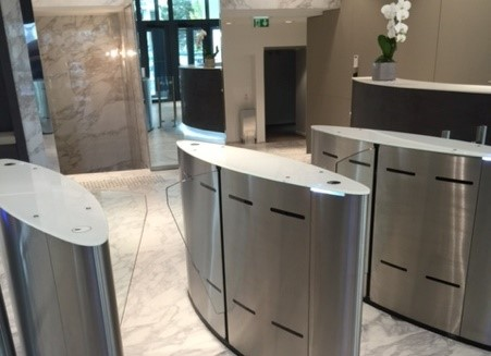Fastlane Glasswing entrance control security speedgate turnstiles in stu at ORPEAs HQs Paris