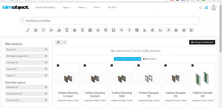 BIM Object web page with Fastlane turnstiles on screen