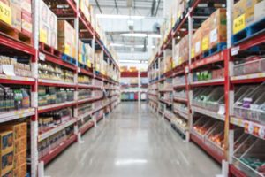 Blurred supermarket aisles