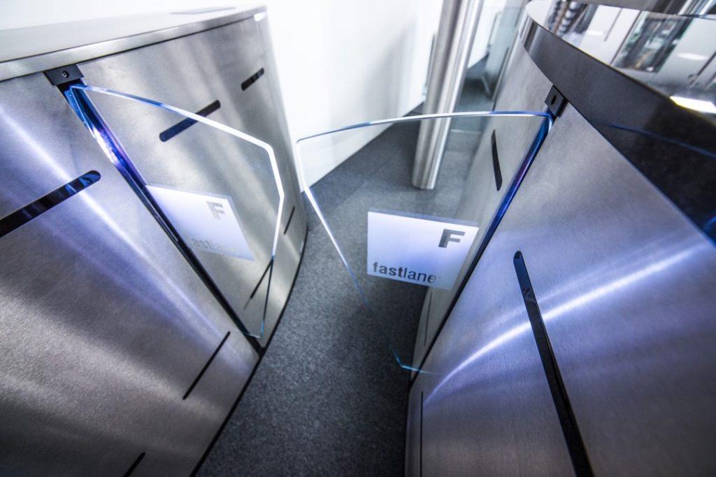 Fastlane Glasswing entrance control security turnstile