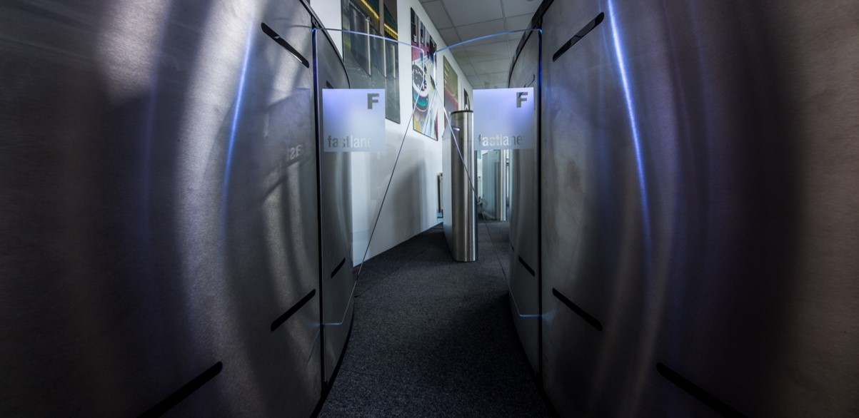 Closeup of Fastlane Glasswing entrance control turnstile