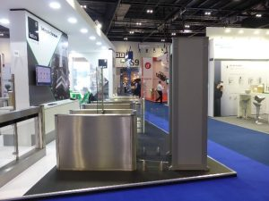 Garrett metal detector arch integrated with Fastlane turnstile