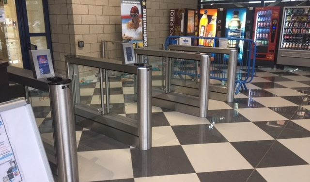 Tollcross International Swimming Centre Glasgow reception area secure by Fastlane turnstiles