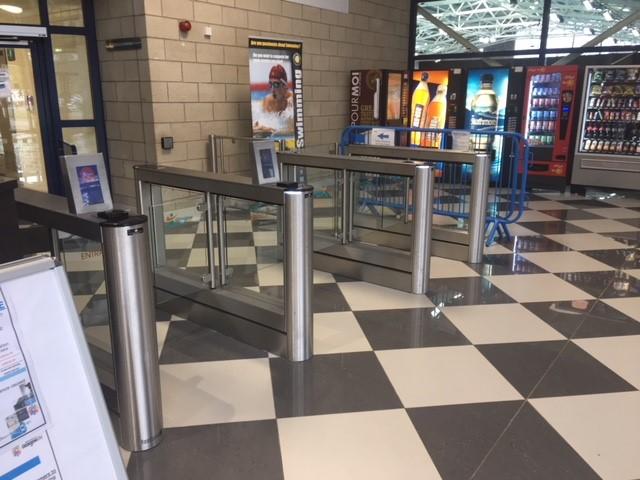 Tollcross International Swimming Centre Glasgow reception area secure by Fastlane turnstiles