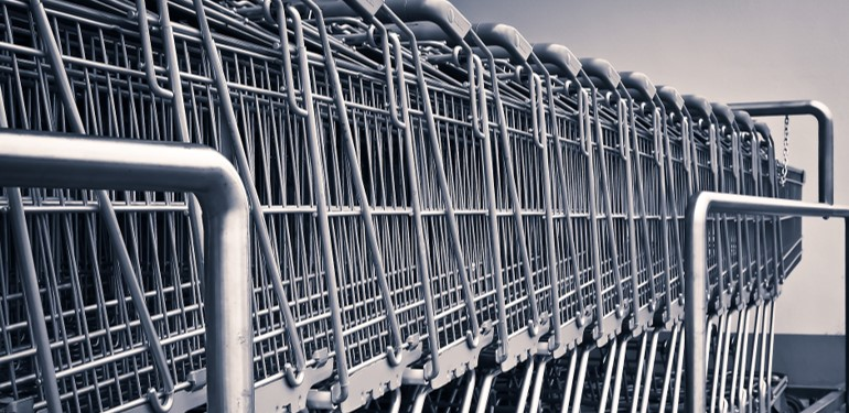 line of shopping trolleys