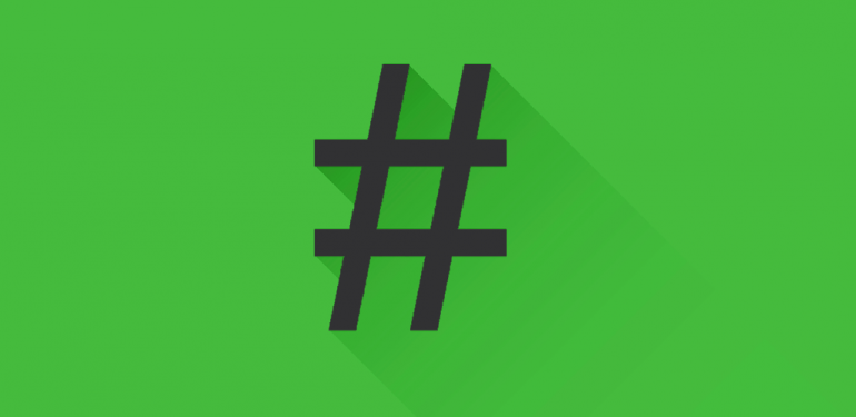 Grey Hashtag on Green Background
