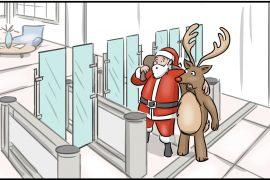 Fastlane turnstiles Christmas illustration
