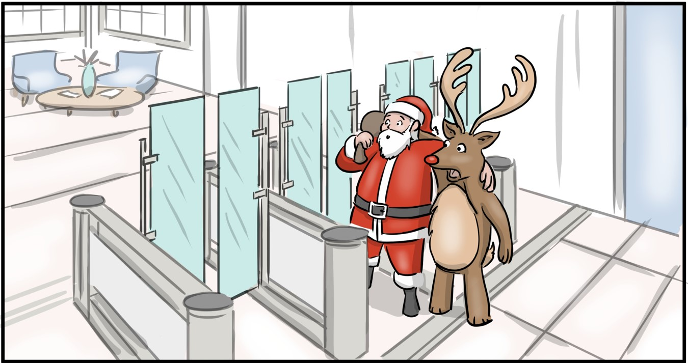 Fastlane turnstiles Christmas illustration